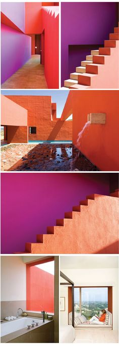 Admiring the bold color blocking created on the exterior surfaces of this residence in Legorreta, Spain. The interior is painted in a more neutral palette with the exterior colors repeated with discretion.