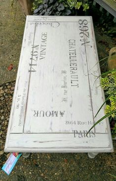 Shabby chic coffee table in Annie Sloan's old white with french stenciling, by Imperfectly Perfect xx
