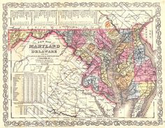 Vintage State Map - Maryland 1856