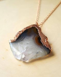 Geode Slice Pendant Necklace, Agate Slice, Agate and Rose Gold Necklace, Electroformed Copper, Handmade, One of a Kind, Bohemian, Wanderlust
