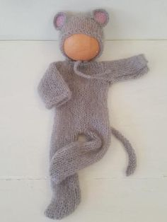 Baby Grey Mouse Onesie and Bonnet Set