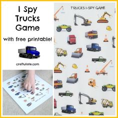 I Spy Trucks Game - with free printable!