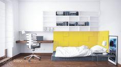 Panele ścienne Fluffo Pixel oraz Line jako miękki, mocny akcent w pokoju młodzieżowym w projekcie Biura Projekowego Sarna Architekci