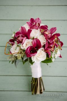 Raspberry and light pink-colored wedding bouquet {Bouquets of Austin - Austin-area Florist}