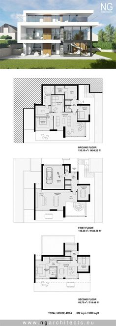 Moderne Villa Torres von NG Architekten www. Model House Plan, Dream House Plans, House Floor Plans, Villa Plan, Modern Architecture House, Architecture Plan, Computer Architecture, Modern Villa Design, Casas Containers