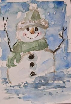 "Daily Paintworks - ""Holiday Snowman"" - Original Fine Art for Sale - © Brande Arno Watercolor Christmas Cards, Christmas Card Crafts, Christmas Drawing, Christmas Paintings, Christmas Art, Xmas, Watercolor Postcard, Watercolor Cards, Watercolor Paintings"