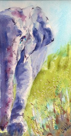 Elephant, animal art, wildlife, purple,  Fawn- Original Watercolor Painting by Julie Hill via Etsy.
