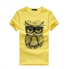 2016 New Summer Fashion Men T Shirt Boy Short Sleeve Cotton Owl