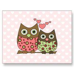 Búhos del amor tarjeta postal por candystore