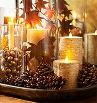 pinecones and candles