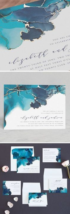 Modern Tide Pools Foil-Pressed Turquoise Wedding Invitations. Wedding stationery. Wedding invitations templates, printable wedding invitations, Elegant wedding invitations #weddinginvitation #invitation #wedding #weddingdesign #affiliate #weddingcards #weddingideas #weddinginvitations #weddinginvitationsmodern #weddinginvitationsmodernelegant