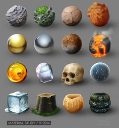 Material Study - Set 01 by artlon on DeviantArt Digital Painting Tutorials, Art Tutorials, Texture Art, Texture Painting, Game Textures, Digital Texture, Visual Development, Art Graphique, Art Studies