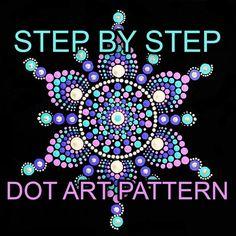 Dot Art Pattern Canvas 4 Downloadable PDF   Etsy Rock Painting Patterns, Dot Art Painting, Painting Tips, Chalk Pencil, Teal Paint, Mandala Stencils, Dotting Tool, Mandala Dots, White Chalk