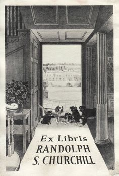 Ex libris of Randolph S. Churchill (the son of British Prime Minister Winston Churchill)