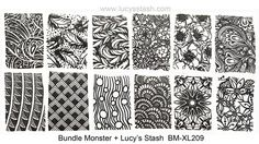 Bundle Monster + Lucy's Stash Collaboration Stamping Plate, includes zentangle patterns, a kaleidoscope-like floral design, pretty feathers and more!