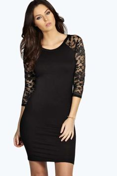 Laura Bodycon Dresswith Lace Sleeve Detail at boohoo.com
