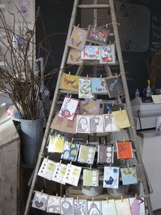 Use a ladder for a card display!