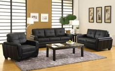 GB6485 Brandley Black Finish Leatherette Sofa + Loveseat $575 For the whole set