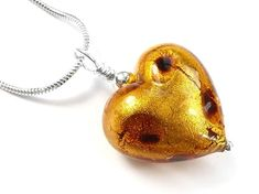 Murano Glass Heart Pendant Necklace - Rich Gold Leopard Spots, Heart Pendant Necklace, Murano Glass, Sterling Silver Necklaces, Drop Earrings, Dark, Pretty, Gold, Handmade