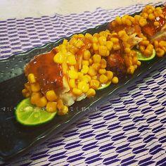 すだちと共に。鶏のもろこし餡かけ Deep Fried Chicken Breast with Corn Sauce.