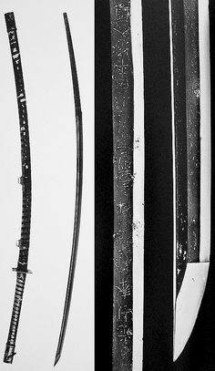 Odachi/otachi or nodachi. Kashiwa Tachi  aka Yamagane Tsukuri Kokushitsu Hirumaki Ôdachi, no signature, Nambokuchô era (1336 - 1392), total length  in fittings is 194.5 cm,  nagasa (cutting edge) of 136.6 cm and sori (curvature) of 4.6 cm, width is 3.8 cm, thickness is 1.0 cm at the base of the blade, tang length is 54.4. The saya (scabbard) is coated in black lacquer and has two hanger mounts. The tsuka (hilt) and saya are wrapped with thin leather in opposite directions.
