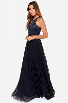 Bariano Luciana Navy Blue Lace Maxi Dress on shopstyle.com