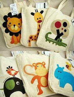 Bolsas de tela by kara Felt Crafts, Diy And Crafts, Cool Gifts For Kids, Safari Party, Jute Bags, Patchwork Bags, Fabric Bags, Kids Bags, Cloth Bags