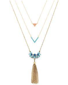 Rue La La — Sparkling Sage 14K Plated Crystal & Resin Tassel 29in Necklace