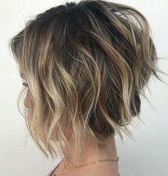 Wavy Tousled Layered Bob With Highlights