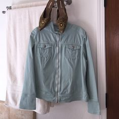 A CUTE SOFT JACKET TO GO ANYWHERE YOU GO! Soft luscious green jacket! Silver zipper and buttons. The two colors are very pretty together! Cynthia Max Jackets & Coats Jean Jackets