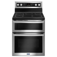Maytag 30 in. Double Oven Gas Range with True Convection Oven in Fingerprint Resistant Stainless Steel (Silver) Double Oven Electric Range, Electric Stove, Double Ovens, Ottawa, Calgary, Stainless Steel Double Oven, Freestanding Oven, Built In Dishwasher, Gas Oven