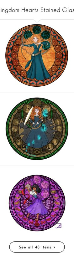 """""""Kingdom Hearts Stained Glass"""" by ltspork ❤ liked on Polyvore featuring disney, brave, characters, merida, princess, backgrounds, circle, circular, round and character"""