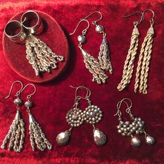 Vintage steel cut beads and pyrite earring - Hoity Toity Designs