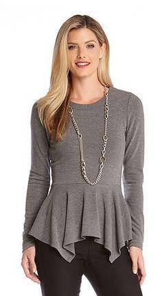 DARK HEATHER GREY HANDKERCHIEF PEPLUM TOP #Dark #Heather #Grey #Handkerchief #Peplum #Top #Slimming #Fashion