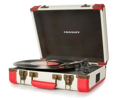 Crosley Executive Turntable Red/White (CR6019A-RE)    Crosley Executive Turntable - CR6019A-BK Made with the retro style of yesteryear. Play and transfer vinyl records to digital files. Take that rich sound on the go with this stylish portable player. Built in speakers enable you to play your full sized albums and 45's as well. Designed to reflect the look of a retro record player with a modern design.  Find it in black/white or brown/black as well. Available at mygiftdeals.com