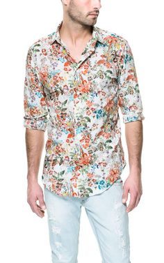 FLORAL PRINT SHIRT - Shirts - Man | ZARA Taiwan Haha I'd wear this even if it were for men >