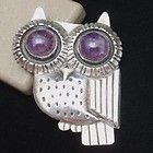 Iconic William Spratling Owl Pin, Taxco, Mexico, Sterling Silver & Amethyst