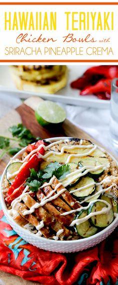 Easy Hawaiian Teriyaki Chicken Bowls with Sriracha Pineapple Crema | http://www.carlsbadcravings.com/easy-hawaiian-teriyaki-chicken-bowls-with-sriracha-pineapple-crema-recipe/