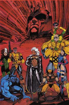 X-Men by Jim Lee. Magnito Jubilee Psylocke Wolverine Storm Beast Rogue Forge and Strong Guy. Yeh I still remember my Marvel characters 😎 Hq Marvel, Marvel Comics Art, Marvel Comic Books, Comic Book Heroes, Marvel Heroes, Comic Books Art, Captain Marvel, Comic Book Artists, Comic Book Characters