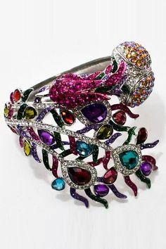Peacock Bracelet In Silver