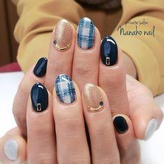 ハンド/チェック/ミディアム/ネイビー/グレー - すみようこNanaho☆nail(大阪府八尾市)のネイルデザイン[No.3727800]|ネイルブック Nails, Beauty, Design, Finger Nails, Ongles, Beauty Illustration, Nail, Nail Manicure