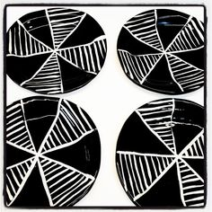 Set of Four Small side dishes with black and white by Mayware