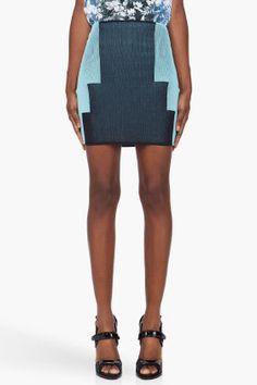 ALEXANDER WANG Navy & Aqua Engineered Miniskirt