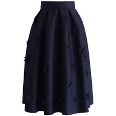 Chicwish Falling Flowers Airy Pleated Midi Skirt in Navy ($47) ❤ liked on Polyvore featuring skirts, blue, floral skirt, navy midi skirt, flower print skirt, pleated skirt and mid-calf skirt
