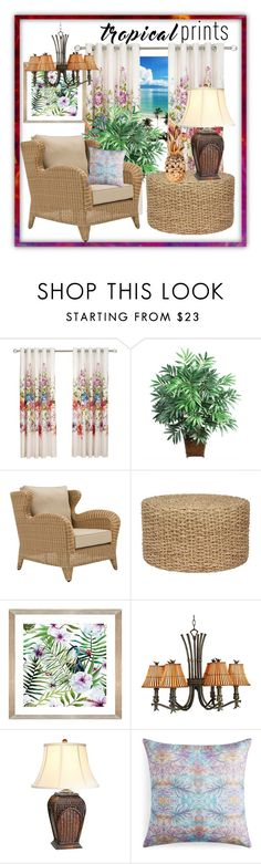 """""""Tropical Prints: Home."""" by tjclay3 ❤ liked on Polyvore featuring interior, interiors, interior design, home, home decor, interior decorating, Nearly Natural, Kenroy Home, The Natural Light and Bunglo"""