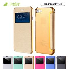 Limelan For iPhone 7 7Plus Ultra thin Window View Phone Case for iPhone 6 6s 6Plus 6s Plus Flip Slim Leather Smart Answer Cover