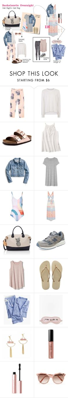"""Bachelorette Overnight"" by vinogirl ❤ liked on Polyvore featuring MANGO, Sweaty Betty, Birkenstock, Post-It, J.Crew, Gap, Mara Hoffman, Deux Lux, New Balance and Havaianas"