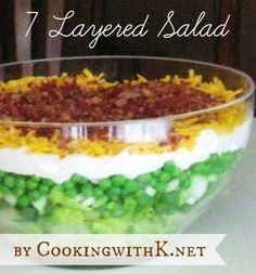 Cooking with K | Southern Kitchen: 7 Layered Salad, {Granny's Recipe} I use 1 cup mayo and 1 cup sour cream with 1 tsp of sugar added vs. the miracle whip.