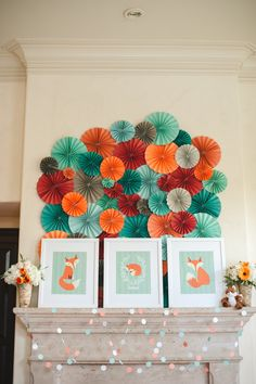 Paper fan backdrop. fox themed baby shower