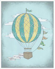 Vintage Hot Air Balloon Printable Print--8 x 10--INSTANT DOWNLOAD--Let's Fly Away, Nursery Art Print